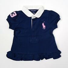 Ralph Lauren Baby Girls Navy Blue Tiered Hem Tee T-shirt Size 6M/12M/24M