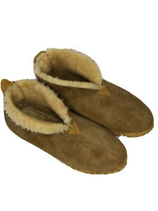 LL BEAN Men's Brown Shearling Suede Wicked Good Ankle Boot Slippers Size 12 M