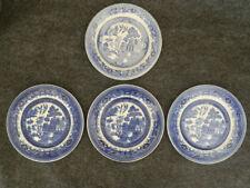 "Blue Willow Bread & Butter Plates - 3 Shenango Pottery & 1 Buffalo China - 6.5"""