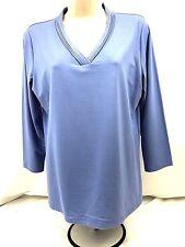 NWOT Talbots Women's Blue V-Neck 3/4 Sleeve Top - Size Medium (499)