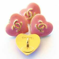 4 Stamped Chanel buttons 4 pieces   metal cc logo 0,8   inch 18 mm  pink Heart