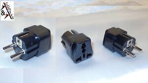 Reiseadapter UK GB USA auf EU Strom Netz Adapter Schuko-Stecke Netzstecker Black