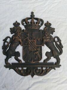 Bayern Wappen Relief bronziert Wandbild bayrisch Königreich Gusseisen Wandbild