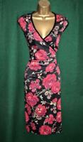 KAREN MILLEN Uk 10 Black Red Floral Signature Stretch Satin Lace Fishtail Dress