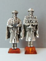 Miniature Vintage Antique Judaica Israel Jewish Sterling Silver 925 Statue Amber