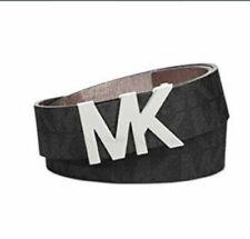 NEW Michael Kors Women's Monogram Silver Logo Buckle Belt Black 553376 S M L XL