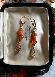 Baltic amber + natural coral beads EARRINGS 14K by BoffinBeads  antique vintage