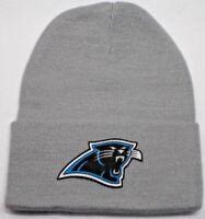 READ LISTING! Carolina Panthers HEAT Applied Flat Logo on Beanie Knit Cap hat!1