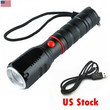 CREE XM-L T6 USB LED Zoomable 5000Lm 18650 Flashlight Torch With USB Cable