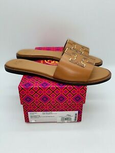 Tory Burch Women's Ines Slide Sandals Tan / Spark Gold Leather- choose size