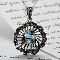 Blue Topaz & Marcasite Pendant - Sterling Silver