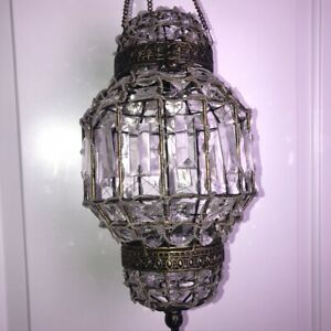 """Moroccan Metal Large Hanging Lantern14"""" Antique Gold Clear Lucite Beaded Boho"""