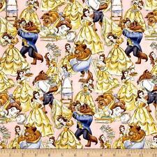 "La BELLA E LA BESTIA Tessuto Fat Quarter Cotton Craft Quilting DISNEY 44"" x 13"""