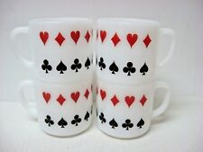 LOT 4 vtg FEDERAL milk GLASS mugs poker card suits DIAMOND HEART SPADE CLUB