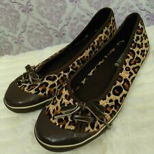 Sketchers Leopard Print Shoes Womens US 5 Fits Like 6 EUR 37 Canvas Slip On Flat