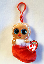 Ty Baby Beanies Gingerbread Jingly Christmas Key or Backpack Clip 4""