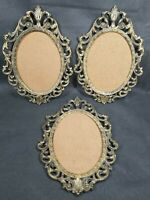 3 Vtg Cheswick ACTION Victorian Metal Oval Ornate Picture Frame Made In Italy