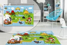 Kids Bedroom Floor Rug Boys Soft Play Mats Carpets Non-slip Washable Road Map Treasure Island