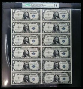1935 UNCUT SHEET OF 12 SILVER CERTIFICATE $1 DOLLAR NOTES PMG ABOUT UNC 55