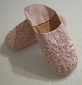 MOROCCAN * LIGHT PINK * LEATHER SEQUINED SLIPPERS