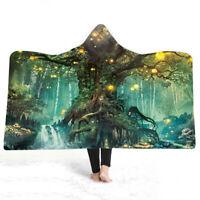 Gift Fairy Woodland Trees Waterfall Mushroom Sherpa Fleece Hooded Blanket Throw