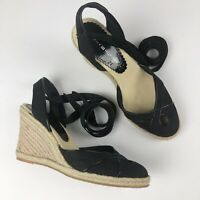 Tommy Hilfiger Espadrille Wedge Sandals Women's Size 7 Black Lace Up Ankle Wrap