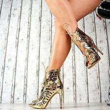 Neu Damenschuhe High Heel Sandalen Riemchen Party Gold Silber Lack Stilettos Rot