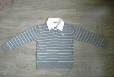 Pull rayé bleu et gris faux col blanc NKY taille 7 - 8 ans, tbe!