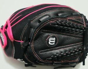 Wilson Flash Baseball Glove Right Hand Fast Pitch Glove Black/Hot Pink  Size: 12