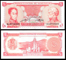 World Paper Money - Venezuela 5 Bolivares 1989 Series K8 @ Crisp Unc