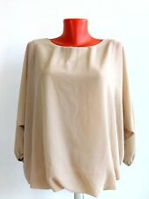 Womens Blouse Top Shirt Beige Flowy Career Office M L Business Polyester Italy