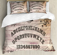 Ouija Board Duvet Cover Set with Pillow Shams Wooden Texture Print
