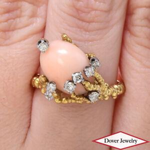 Estate Diamond Angleskin Coral 14K Gold Tree Branch Design Ring 8.9 Grams NR