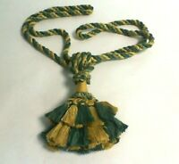 Large Curtain Tie Back With Tassel - Gold/ Green #28E424