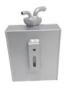 Aluminum Coolant Overflow Bottle Expansion Reservoir Tank Bracket W/Cap Silver