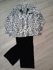 Jaclyn Smith Women Black and White Animal Print Long Sleeve Pajama Set   Size XL