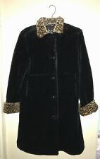 Black Fur Lined Coat (Faux) Leopard Collar/Cuffs By Kc Collection Size Youth Xl