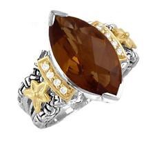 18k Gold & Sterling Silver Diamond & Cognac Quartz Philip Andre Ring size 7.5