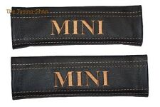 "2x Pastiglie Coperture CINTURE IN PELLE NERA ""MINI"" TAN ricamo per Mini Cooper"