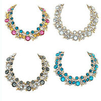 Women Charm Chunky Crystal Statement Bib Chain Choker Pendant Necklace Jewelry