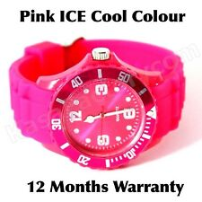 ICE COOL HOT PINK COLOUR WATCH UNISEX LADIES MENS CHILDREN SILICONE WRIST WATCH