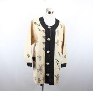 New Venus Imports Womens Small Fish Kokopelli Himalayan Nepal Tunic Jacket Tan