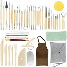 43pcs Pottery Clay Sculpting Tools Kit Ceramic Shaping Carving Modeling Wooden