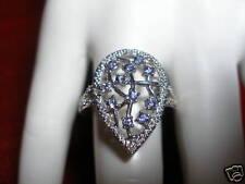 STERLING SILVER GENUINE IOLITE & DIAMOND RING