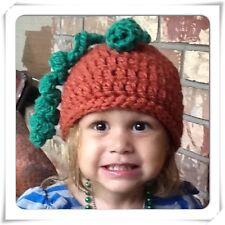 "CROCHET TODDLER CHUNKY YARN PUMPKIN HAT ~ 18""  BABY PUMPKIN BEANIE HAT"