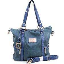 New Women's Handbag Faux Leather Tote Bag Shoulder Bag Hobo Satchel Purse Blue