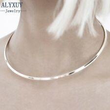 SILVER PLATED Choker Necklace Metal Mirrored Thin Party Shiny Collar Retro VTG