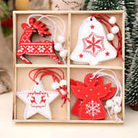 12Pcs Wooden Christmas Pendants Ornaments for Xmas Tree Hanging Decoration Cj