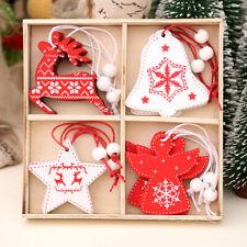 12Pcs Wooden Christmas Pendants Ornaments for Xmas Tree Hanging Decoration