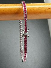 AAA QUALITY STERLING 925 SILVER JEWELRY NATURAL AFRICA RED RUBY TENNIS BRACELET